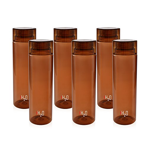 Cello H20 Unbreakable Plastic Bottle Set, 1 Litre, Set of 6, Brown