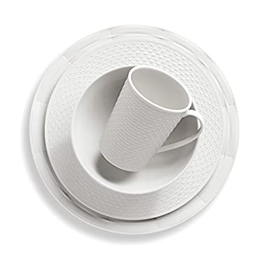 Lenox 4-Piece Entertain 365 Sculpture Mixed Round Place Setting, White
