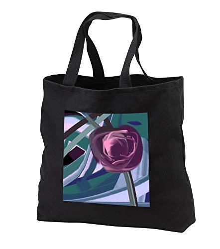 Wine Duffel Rose - Lasha Beraia - Flowers - Wine-Color Rose Bud - Tote Bags - Black Tote Bag 14w x 14h x 3d (tb_288702_1)