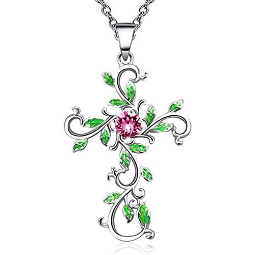 - 1pc God We Trust Cross Pendant Necklace Jewelry for Women Gifts Silver Rose Gold,Sv