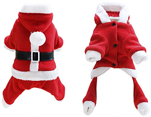 ChezAbbey Dogs Winter Fleece Four Legs Clothes Christmas Couples Dress Costumes with Hood for Small Dogs and Cats Male