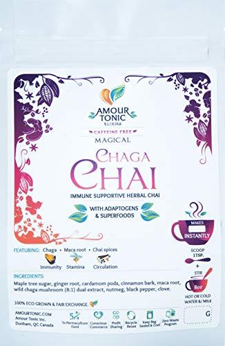 Chaga Mushroom Chai Mix - 50 Makes 25 Instant Cups ~ Caffeine Free, Chai Spices, Wild Chaga, Maca, Wild Maple Sugar. Immunity Supportive Herbs, Tonifying Herbal Chai with a Purpose!