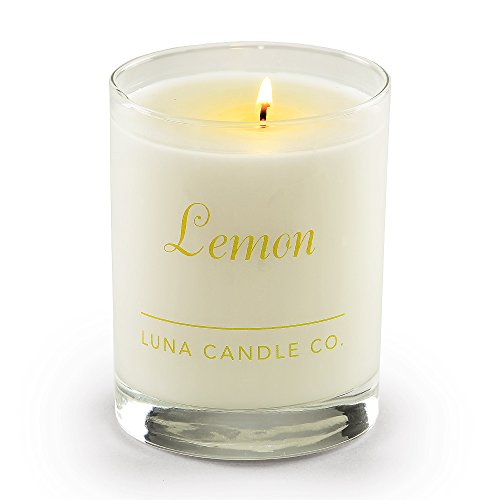 Luna Candle Co. Strong Scented Lemon Jar Candle, Natural Soy Wax, 11oz. Glass, Up To 110 Hours of Burn Time, Tart Sugary Sweet Scent, Perfect for Springtime (3 Pack) -