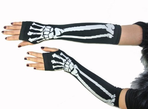 New Black Punk Gothic Dark Rock White Skeleton Long Arm Warmer Fingerless...