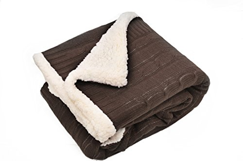 posh home Sweater Cable Knit Throw with Ultra Soft Sherpa Lining-Reversible-50x60-Chocolate, ()