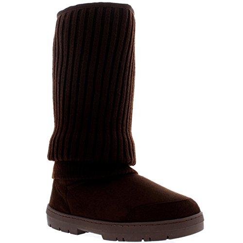 Mujer De Altura Cardy De Punto Nieve Lluvia Al Aire Libre Zapato Botas Marrón De Punto