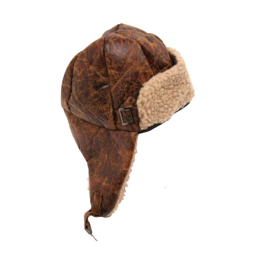 Aviator Pilot Cap Adult Hat Brown with Buckle]()