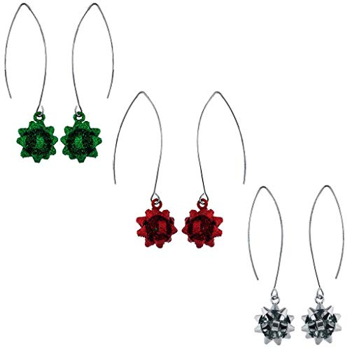 Lux Accessories Silver Color Present Bow Christmas Multi Earring set 3PC ()