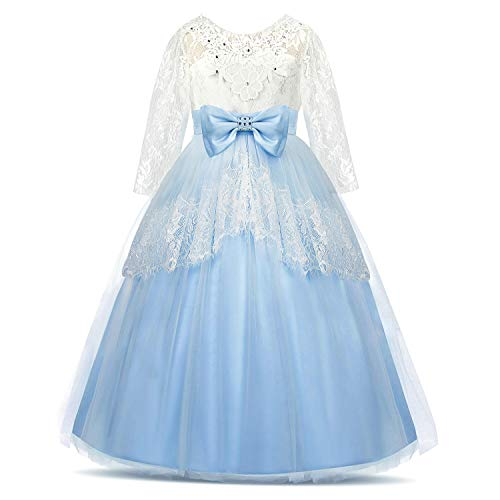 Acecharming Lace Flower Girls Dress Backless Princess Pageant Ball Gown Wedding Christmas Party Dress Blue