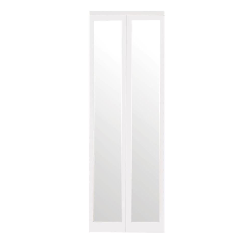 Mir-Mel Primed Mirror White Trim Solid MDF Interior Bi-fold Closet Door