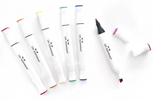 Permanent Fabric Markers By Oh, Susannah: Dual Tip Washable Cloth Dye Pens, 6 Piece Arts And Crafts Set For Vibrant Colored Painting And Writing On Clothes, Non Toxic Paint Art Marker Kit