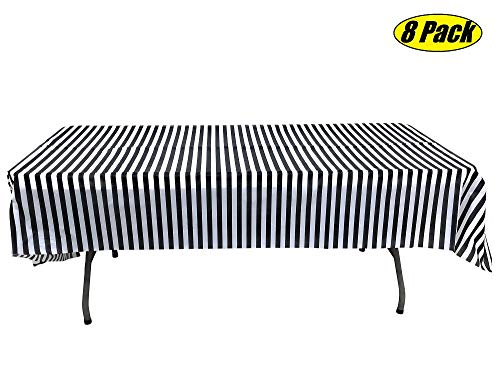 Pack of 8 Plastic Black and White Stripe Print Tablecloths - 8 Pack - Picnic Table Covers,birthday,weddings,office,parties for any occassion]()