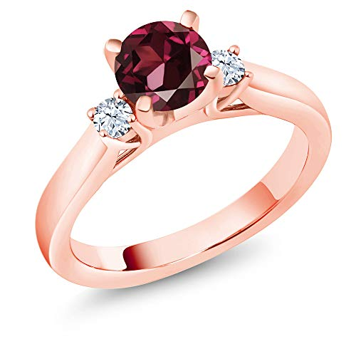 Gem Stone King 1.10 Ct Red Rhodolite Garnet White Created Sapphire 18K Rose Gold Plated Silver Engagement Ring (Size 5)