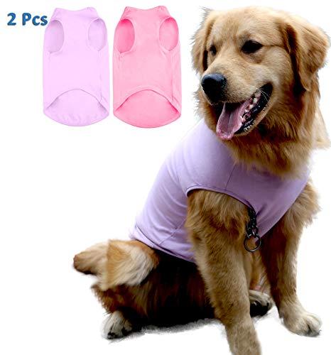 Uvoguepaw Dog Plain Cotton Shirts for Large Medium Small Pet - Basic Soft Breathable Clothes - 2pcs(Purple + Pink,L)