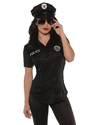 Underwraps Women's Police Fitted Shirt, Black, (Womens Police Shirt Adult Costumes)