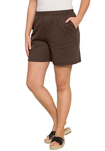 Roamans Women's Plus Size Soft Knit Shorts Chocolate,L