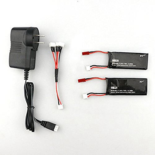 Ocamo Spare Parts 2PCS 7.4V 15C 610mAh Battery with Charger Set for Hubsan H502S RC Quadcopter by Ocamo