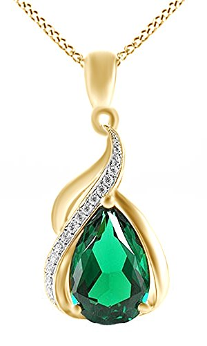 3.5ct Emerald Pendant Necklace 14k Yellow Gold Over Sterling Silver