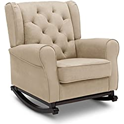 Delta Children Emma Upholstered Rocking Chair, Ecru