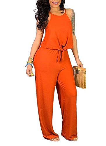 Black Jumpsuits for Women - Casual Summer Loose Spaghetti Strap Sexy Crop Tops+ Wide Leg Long Pants Suits Orange ()