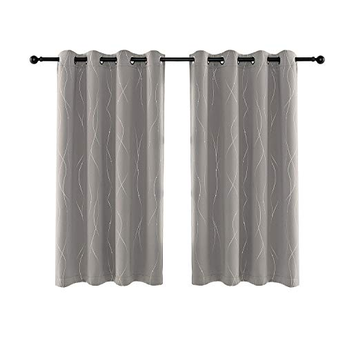 Anjee Eyelet Thermal Insulated Blackout Curtains and Drapes Wave Line with Dots Printed for bedroom living room Children's room Two Matching Tie Backs 46 x 54 inch Space Gray
