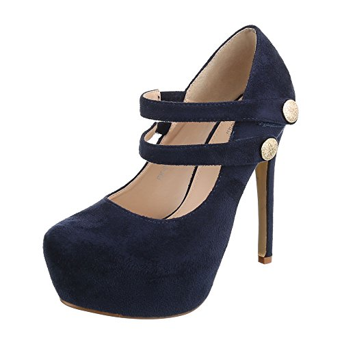 Ital-Design High Heel Pumps Damenschuhe High Heel Pumps Pfennig-/Stilettoabsatz High Heels Schnalle Pumps Dunkelblau