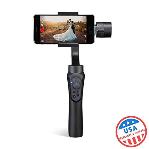 EVO Shift 3 Axis Handheld Gimbal for iPhone & Android Smartphones - Intelligent APP Controls for Auto Panoramas, Time-Lapse & Tracking + Built in Phone Charging - Includes 1 Year US Warranty   Black ( (Best Android Time Lapse Camera App)
