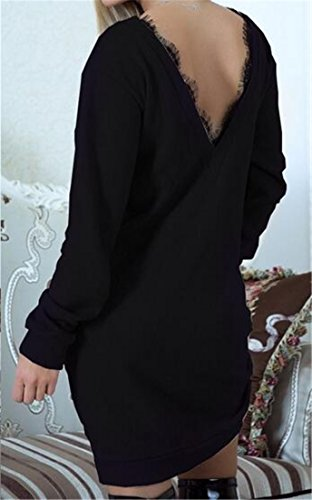 Splice Loose Womens Sweatshirt Dress Lace Sleeve Cromoncent Black Trim Long Pullover xw0OSIf4q