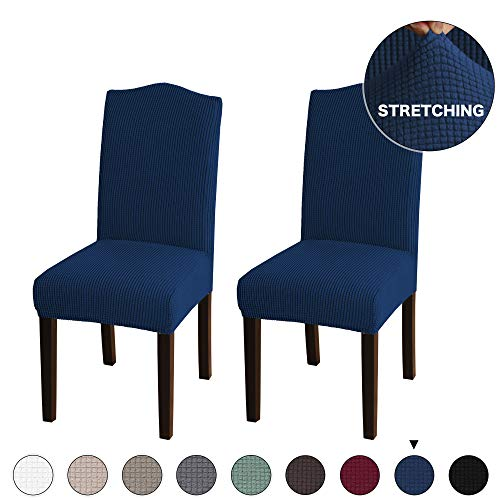 Turquoize Dining Chair Covers Slipcovers Washable Removable Jacquard Dining Room Chair Slipcovers Sets Chair Protector Cover for Hotel, Dining Room, Ceremony, Wedding Party, 2 Pack Navy