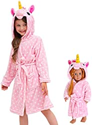 Cesriter Unicorn Hooded Bathrobe Sleepwear Matching Doll & Girls G