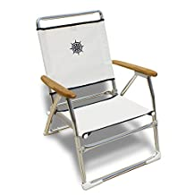 FORMA MARINE Beach Chair, Outdoor Chair, Folding, Anodized, Aluminium, Wooden Armrest, White, Model 'Plaz' PA600AT