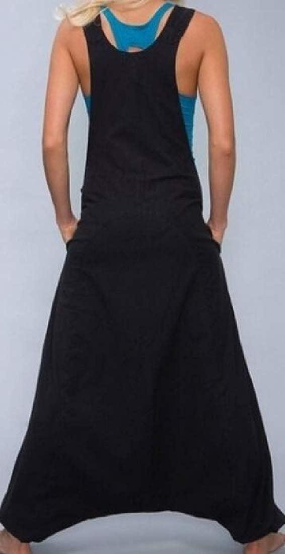 UUYUK Women Basic Wide Leg Yoga Overalls Sleeveless Baggy Long Rompers