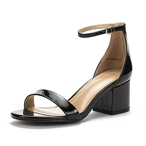 DREAM PAIRS Women's Low-Chunk Black Pat Low Heel Pump Sandals - 7.5 M US