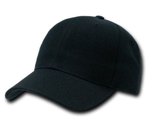 Plain Adjustable Velcro Baseball Cap (Black)