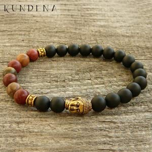 Antique Gold Head Charm Bracelet | Lucky Buddha Bracelets Beaded Bracelet | for Unisex (As pic Show)