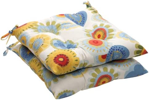 Pillow Perfect Indoor Outdoor Floral Tufted Seat Cushion, 19 L x 18-1 2 W x 5 D, Multicolored