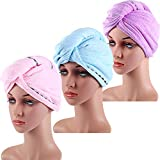Gejoy 3 Pieces Microfiber Hair Drying Towels Long Hair Wraps Absorbent Twist Turban for Women and Girls, 3 Colors
