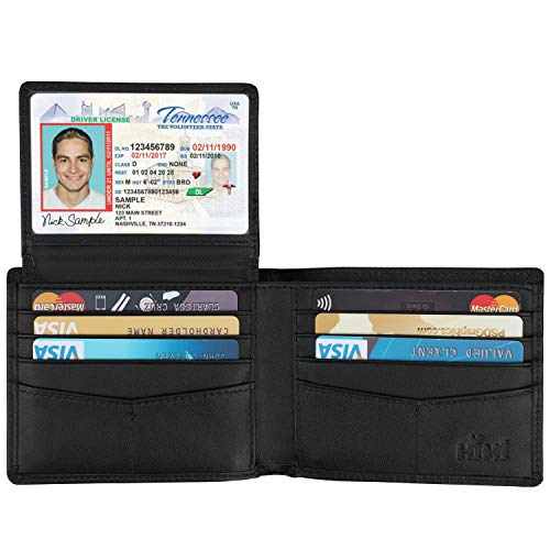 Wallet for Men-Genuine Leather RFID Blocking Bifold Stylish Wallet With 2 ID Window (Cross Black) ()