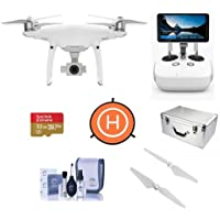 DJI Phantom 4 Pro Quadcopter Drone with 5.5in FHD Screen Remote Controller - Bdle With 32GB MicroSDHC U3 Card, Aluminum Case, Quick-Release Propellers, and More