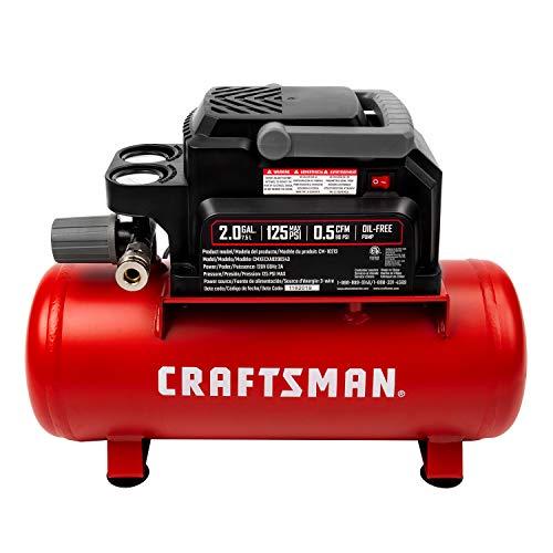 Craftsman Air Tools, 2 Gallon Portable Air Compressor 1/3 HP Oil-Free Max 125 PSI Pressure, Hot dog, Model: CMXECXA0200243