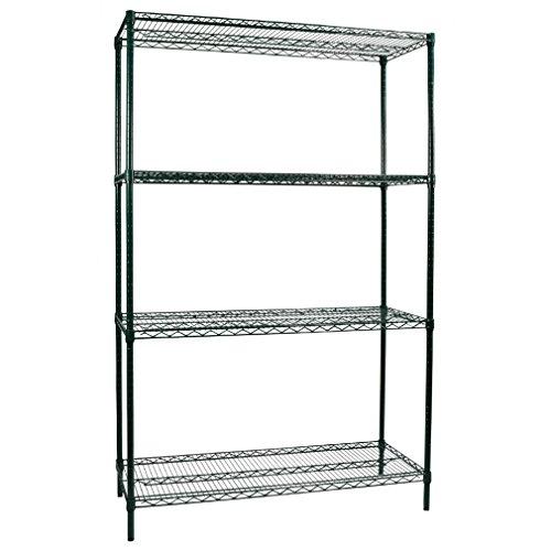 48 Green Epoxy Wire Shelf (Apollo Hardware Commercial Grade Green Epoxy 4-Shelf NSF Wire Shelving Rack, 18