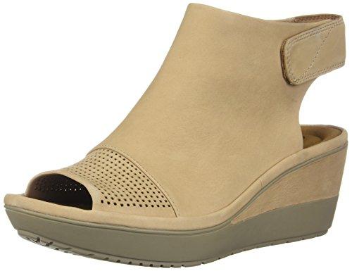 CLARKS Womens Wynnmere Abie Wedge Sandal, Sand Nubuck, Size 6