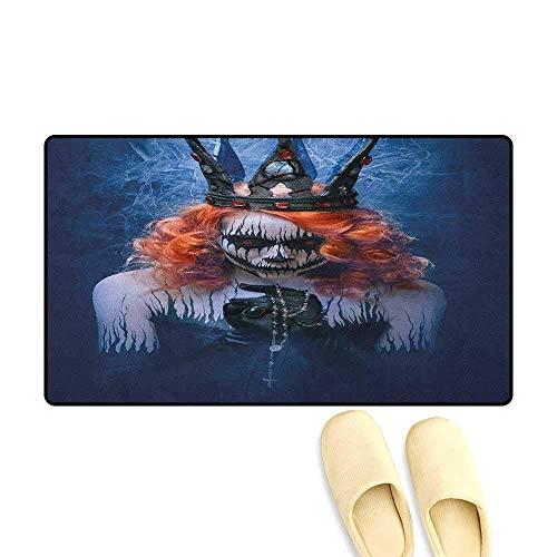 YGUII Queen Floor Mat Pattern Queen of Death Scary Body Art Halloween Evil Face Bizarre Make Up Zombie 16X23.6in (40x60cm) Navy Blue Orange -