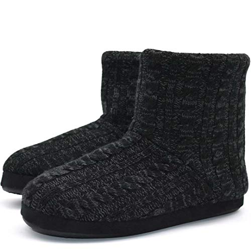 Mens Woolen Knit Slipper Boots Furry Plush Foam Velvet Slip on Ankle Booties Indoor House Bedroom Shoes ()