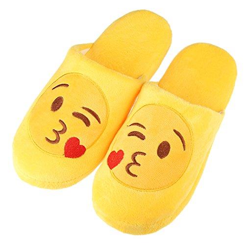 Unisex Warm Winter Slippers Emoji Cute Cartoon Soft Plush Fluffy Stuffed Indoor Household Home Bedroom Shoes Anti-slip Memory Foam Casual Slip-on Footwear (Label Size S = US4.5-US6.5, Blowkiss)