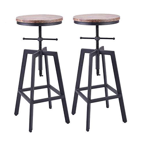 - Diwhy Industrial Style Vintage Bistro Bar Stools,Kitchen Dining Chair,Wood Metal Bar Stool,Swivel Counter Height Stools,Adjustable Height,Set of 2 Chairs