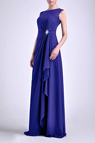 Bateau Chiffon Guaina madre maniche Blue Natrual con Adorona Royal perline abiti cinghie lunghe senza dZwtwq