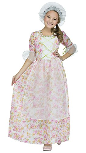 Colonial Lady Kids Costume, Medium, Pink / White / (Colonial Costume Girl)