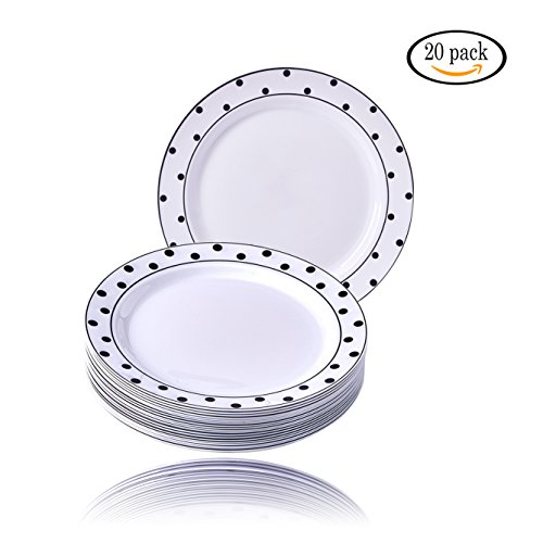 Black Elegance Collection (Party Disposable 20 pc Dinnerware Set | 20 Dinner Plates | Heavyweight Plastic Dishes | Elegant Fine China Look | for Upscale Wedding and Dining (Charming Dots Collection– Black/White | 7.5 Inch))