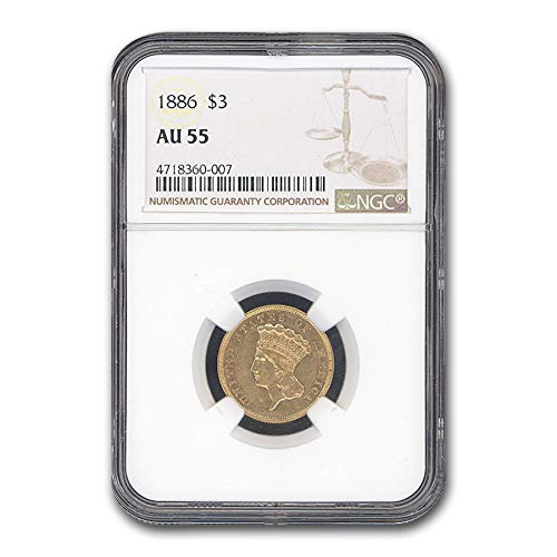 1886 $3 Gold Princess AU-55 NGC $3 AU-55 NGC
